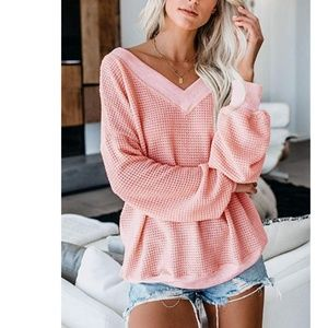 GENDRA V-Neck Long Sleeve Pullover